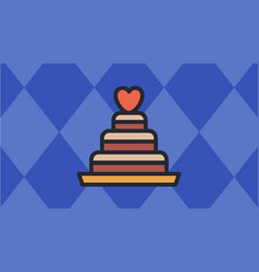 Valentines cake icon with blue diamond-shaped vector
