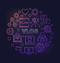 vlog circular concept colorful outline vector image