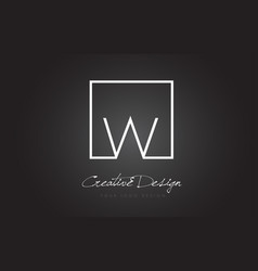W square frame letter logo design with black and vector