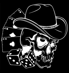 white silhouette cowboy skull with poker ace vector image