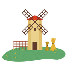 Windmill and hay bales tied with threads vector