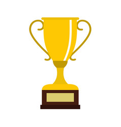 Winning gold cup icon flat style vector