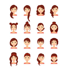 woman hair style set vector image