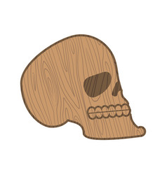 wooden skull heads of skeleton of wood isolated vector image