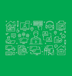 work from home concept with line icons vector image
