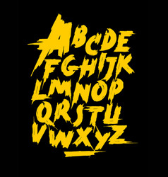 yellow calligraphy hand lettering font alphabet vector image