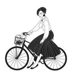 young lady dressed in elegant clothes riding city vector image
