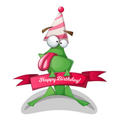 funny cute frog characters birthday vector image vector image