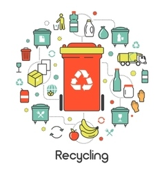 Garbage Waste Recycling Line Art Thin Icons vector image vector image