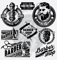 Set of templates for barbershop barbershop logo vector