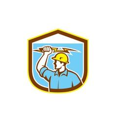 Electrician Holding Lightning Bolt Side Shield vector image