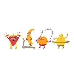 funny fruit and berry characters doing sport vector image vector image