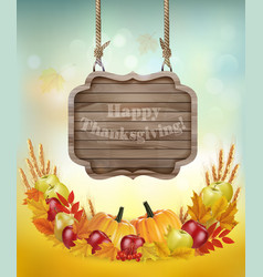 Happy Thanksgiving background with a wooden sign vector image vector image