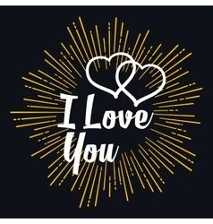 I love you in strarburst shape vector