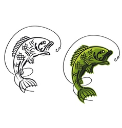 catch a carp fish as a fishing symbol isolated on vector image vector image
