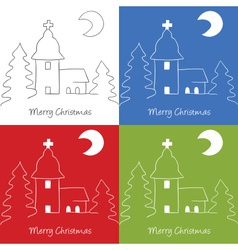 Christmas church doodle vector image
