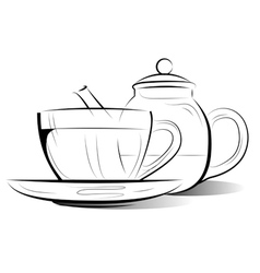 drawing teapot and cup of tea vector image vector image