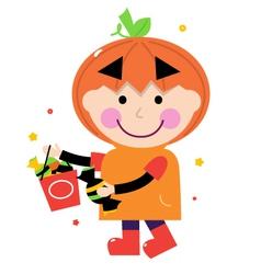 Pumpkin halloween boy vector image vector image