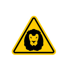 attention lion leo on yellow triangle road sign vector image vector image