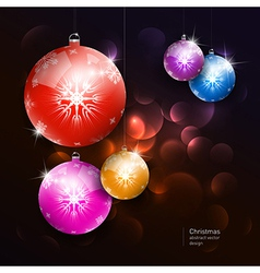 colorful christmas balls on dark background vector image vector image