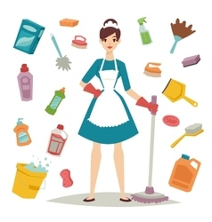 Housewife girl and home cleaning equipment icon in vector image