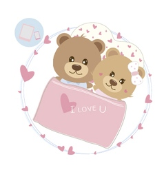 Love concept of couple teddy bear doll sleeping vector image vector image