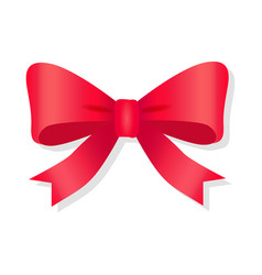 red bow isolated on white pussy bright bowknot vector image