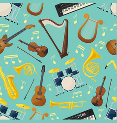 seamless pattern with music guitar and drum kit vector image