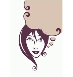 thinking beautiful girl vector image vector image
