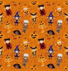 background with children in costumes for halloween vector image