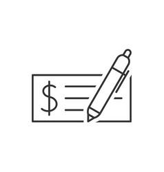 bank check outline icon vector image