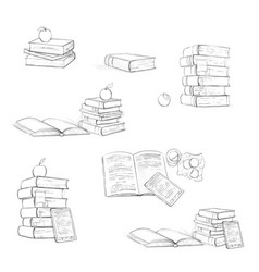 Beautiful educational books on in black and white vector