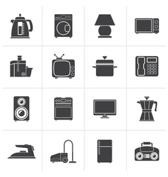 Black home equipment icons vector image