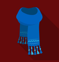 Blue felt scarf with beautiful patternsscarves vector