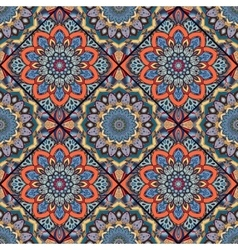 Boho tile flower squares colorful 1 vector