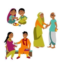 brother and sister all ages celebrate raksha vector image