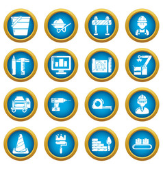 building process icons set simple style vector image