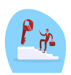 businessman climbing stairs up key access new vector image