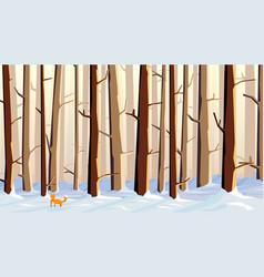 Cartoon snowy forest with fox vector