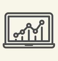 chart on laptop line icon graph on monitor vector image