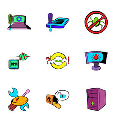 computer virus icons set cartoon style vector image