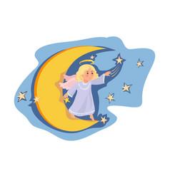Cute angel girl stay at night moon move stars vector