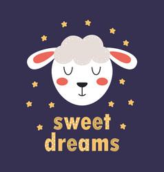 Cute funny lamb face vector
