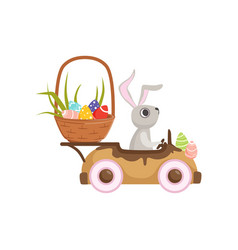 Cute little bunny driving vintage car with easter vector