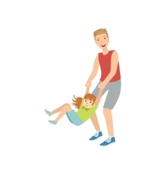 Dad Spinning His Daughter Holding Her Wrists vector