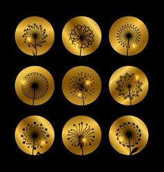 Dandelion flowers silhouettes on golden backdrop vector
