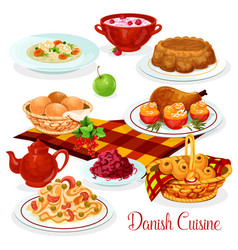 Danish cuisine dishes for menu design vector