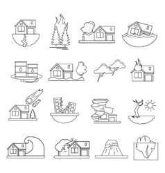 Disaster Damage Line Icon Set vector