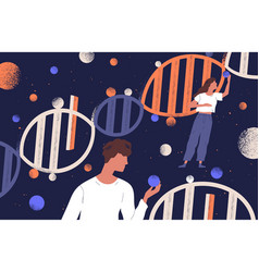 dna molecules man and women holding genes vector image