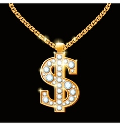Dollar sign with diamonds on gold chain Hip-hop vector